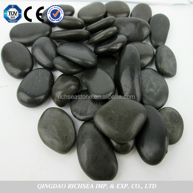 High Polished Black Flat River Stone