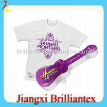 White Wholesale Custom Cotton Printed Violin Shape Compressed T Shirt