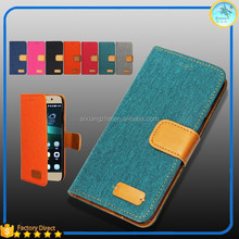 Denim leather flip smartphone cover case for huawei g7 plus,wallet leather case for huawei ascend g7
