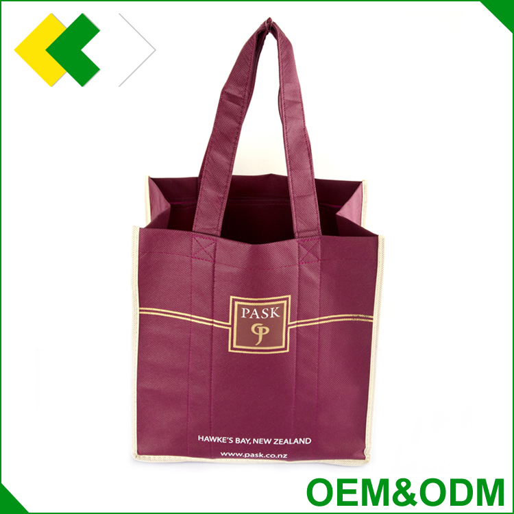 Customized manufacturer waterproof luxury elegant wine tote bag packing fabric non woven wine bottle bag