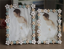 top grade wedding gift romantic photo frames alloy metal colorful flower enamel metal photo frame supplier