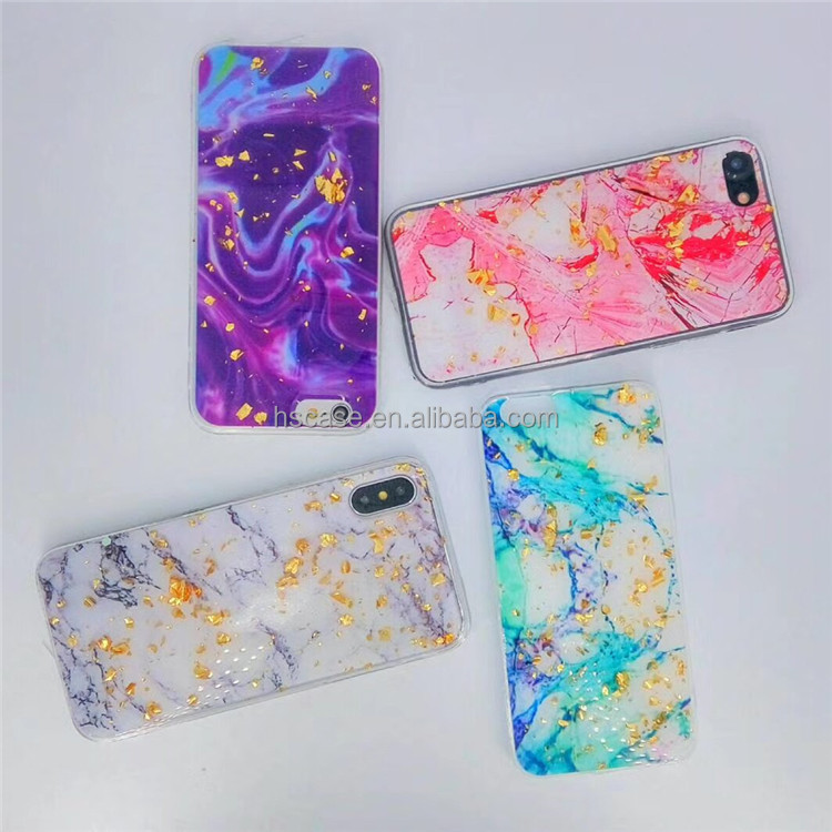 new design 2018 hot sale miss panda 4 colors gold foil flake marble phone case for iphone 6 6 plus 7 7 plus x