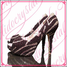 Aidocrystal black rhinestones women high heel shoes handmade beautiful pearls peep toe pumps