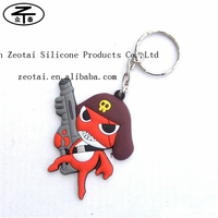 Promotion soft 3D silicone bracelet keychain, soft pvc tag key, silicone wristband keychain with key ring