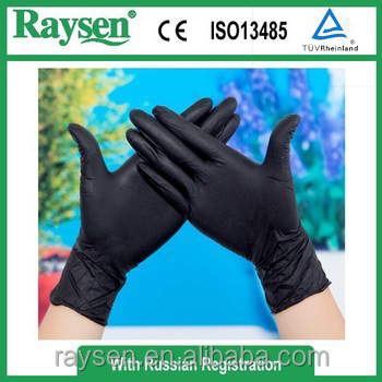 Black color Nitrile exam gloves European standard 9 inch 12 inch