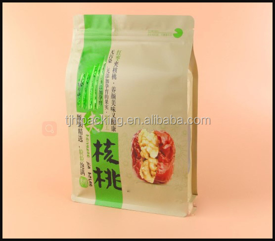 Three layer composite eight edge sealing zipper beans packs