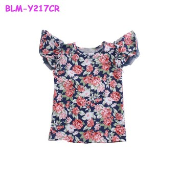 Hot Sale Toddler Girls Tank Top For Girls Floral Summer Clothing Baby Cotton Clothes Baby Flutter Sleeve Girls Top