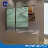 wall mounted bathtub pivot folding glass shower screen