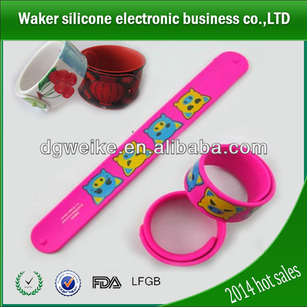 Cheap blank rubber snap bracelets kids slap wrist band