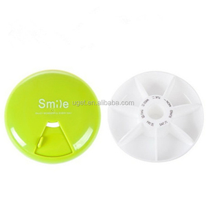 Round or As your design Durable New Coming Waterproof Novelty Plastic Weekly Pill Box