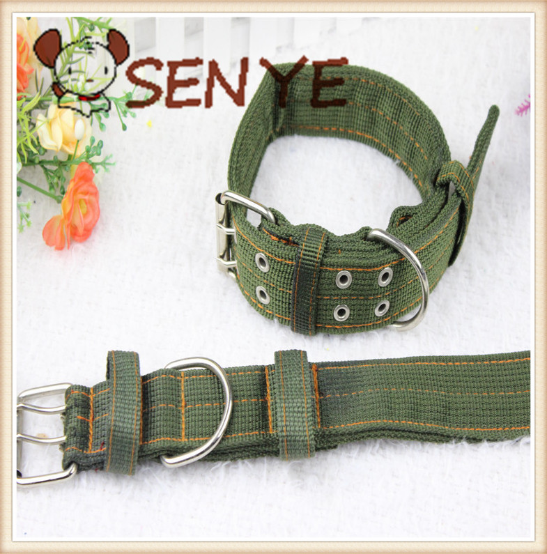 Pet Supplies army green canvas dog collar / Collar / medium dogs large dog collar collar gold Mao Demu