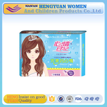 mesh surface Winged Shape and Cotton Material disposable sanitary napkin manufacturer in China