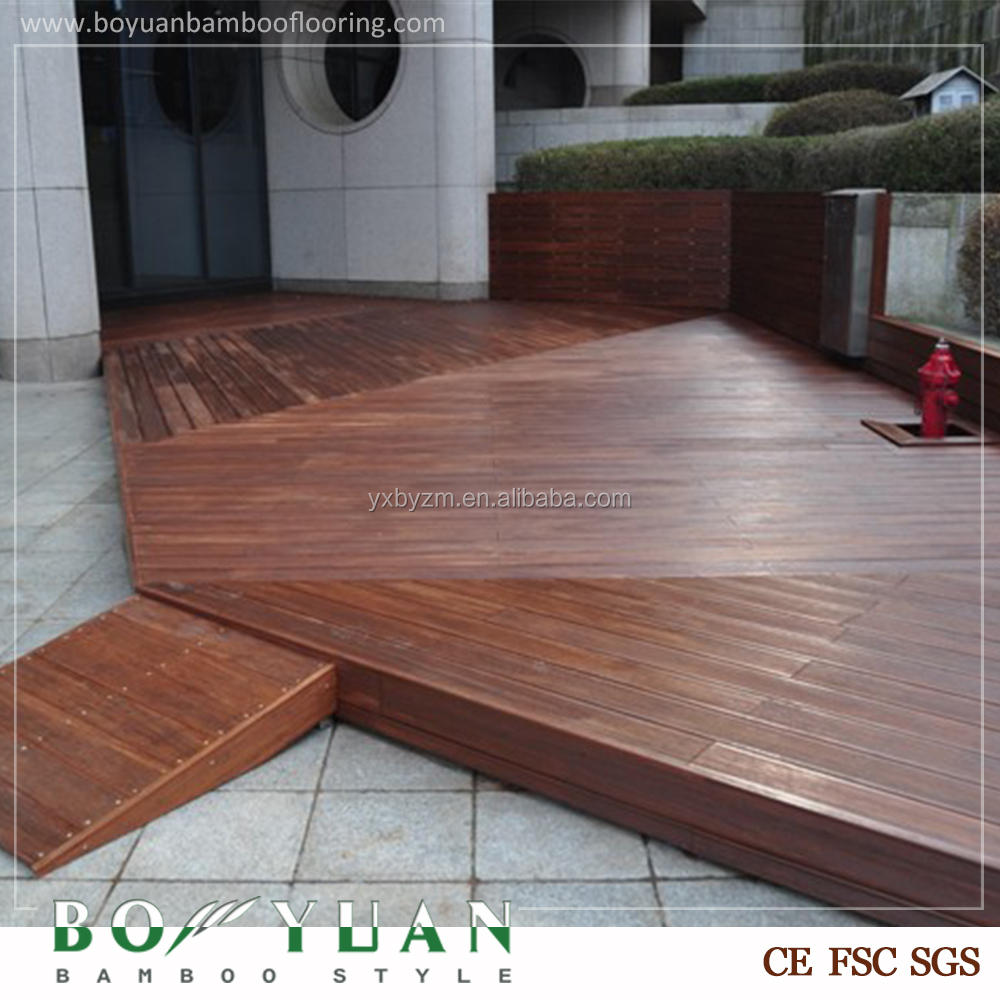 Factory price outdoor flooring composite decking bamboo for Bamboo flooring outdoor decking
