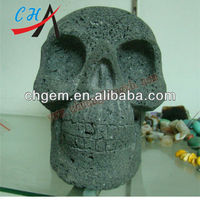 200mm Decorated Animal Stone Skull Carving