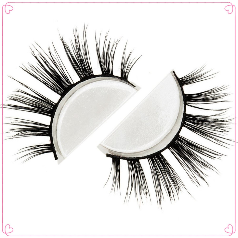 Wholesale price natural style 3D faux mink lashes silk lashes with custom box