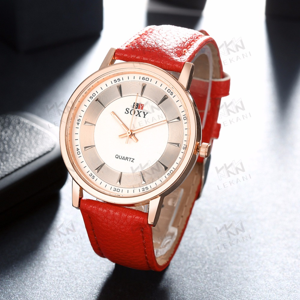 Sexy red hand watch for girl, cheap leather watches women