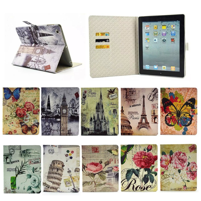 2015 Flower pattern cedit card Leather case for ipad 2/3/4, for apple ipad 2/3/4 case cover