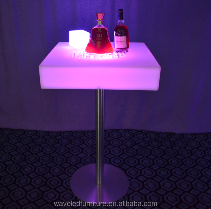Standing rechargeable illuminated plastic arcylic light up led cocktail bar table