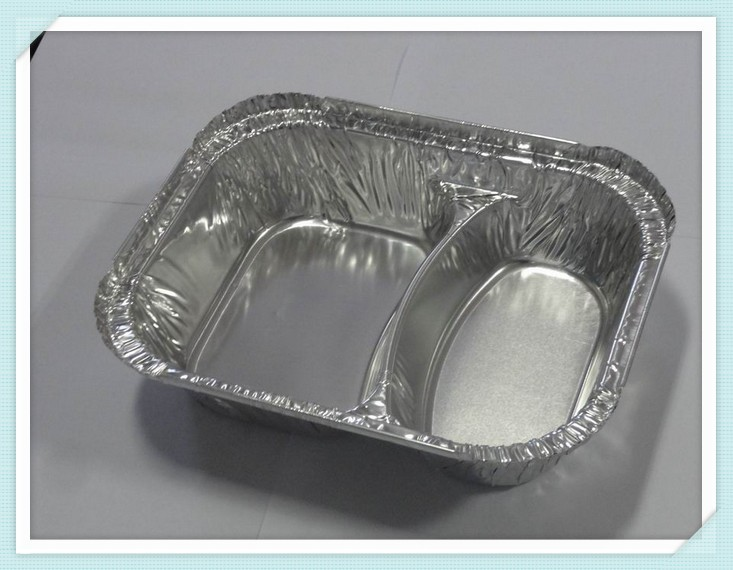 compartmental disposable aluminum foil container for airlines