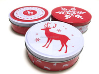 wholesale custom exquisite empty round metal tin can for christmas gifts