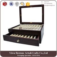 Lacquer wood brown color 20 pen collection display case