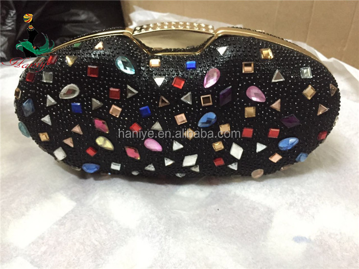 Haniye SGB14-1 black hot selling italian style clutch bag with stones for party/envelop clutch bag in italian design