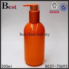 300ml orange color biodegradable recycling lock up pump pet bottle cosmetic packaging companies