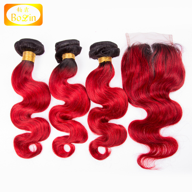 peruvian human hair body wave two tone ombre colored hair weave bundles and closure