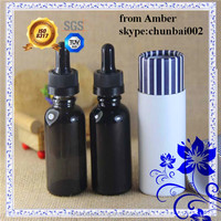 hot shine black glass Bottle 30ml 15ml childproof cap for bottle eliquid dropper