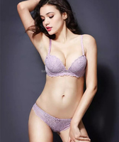 Womens Fashion Cute Sexy Cozy Underwire Underwear Satin Lace Embroidery Bra Sets