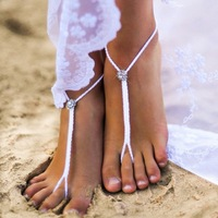 Crystal Feet Jewelry Crochet Barefoot Sandals Popular Beach Wedding Anklet Sexy Night Out Party Shoes