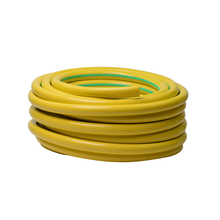 Yellow color pvc flexible garden reinforced hose with brass fittings