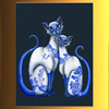 China Jingdezhen ceramics blue pattern cats classic elegance pure hand-painted 100% handmade decoration oil painting in canvas