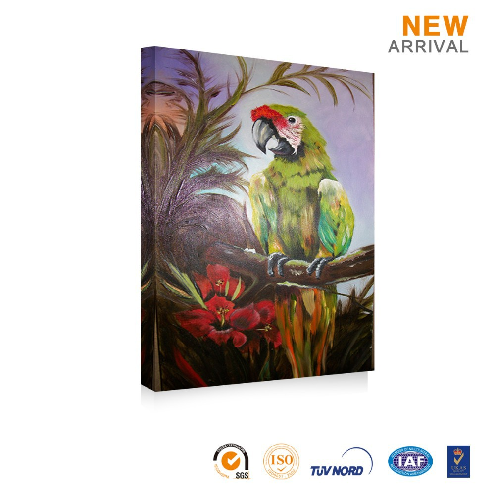 New Design Decorative Abstract Canvas Oil Parrot Paintings