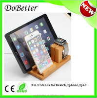 2015 New Design Detachable Bracket Stand for Apple Watch 3 in 1 Good Price Stand for Ipad Bamboo Stand Charger for IPhone 6