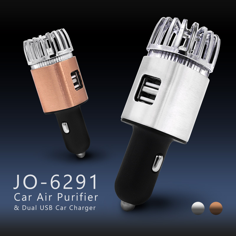 2019 New CE RoHS FCC Certified JO-6291 2 In 1 Mini Air Purifier with Dual Ports USB Car Charger