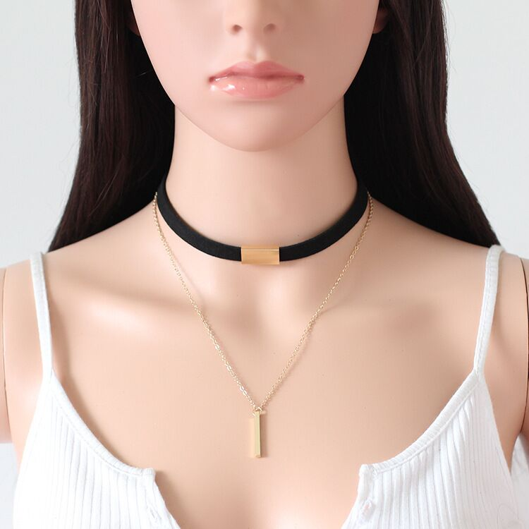 Black suede velvet chockers for women gold plated choker chains necklace