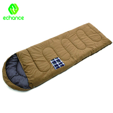 Cotton canvas and flannel fabric adult kids outdoor sleeping bag with hood