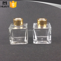 Top quality square reed diffuser glass bottle for home use fragrance
