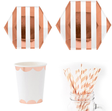 Newest Rose Gold Deluxe Plates Napkins Cups Halloween Wedding Birthday Party Supply Tableware Sets