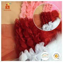 High end fashion design digital printed organza lace fabric austrian embroidery designs flower lace