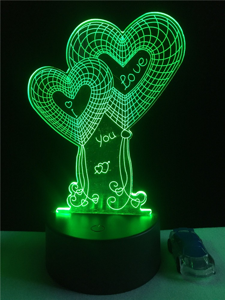 China supplier Valentine's Day 3D illusion lamp high quality fashion decoration 3D LED table light