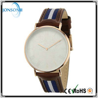 Newest fashion quartz movement high quality leather watches with leather and nylon mix strap