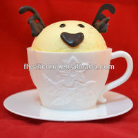 Tea Shape Custom-made Cake Cupcake White Silicone Mold with Plastic Saucer