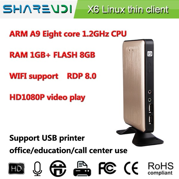 dual core for blue film sex video google thin client X6 RDP 8 Octa Core 1.2Ghz VGA/RJ45/USB 2.0*4 low cost easy maintenance