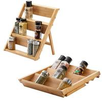 Bamboo foldable spice storage Organize standinng rack and in Drawer