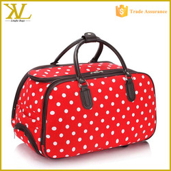 Ladies Travel Bags Womens Polka Dot Wheeled Trolley Bag, Trolley Shoulder Bag