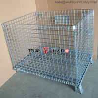 Wuhao collapsible stackable metal steel wire mesh pallet and crate for storage
