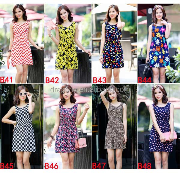 2016 wholesale new design korean fresh floral styles version type summer latest sexy fashion woman <strong>dress</strong>