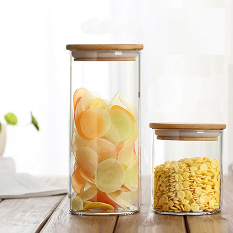 2020v High borosilicate small pyrex glass jar with bamboo lid